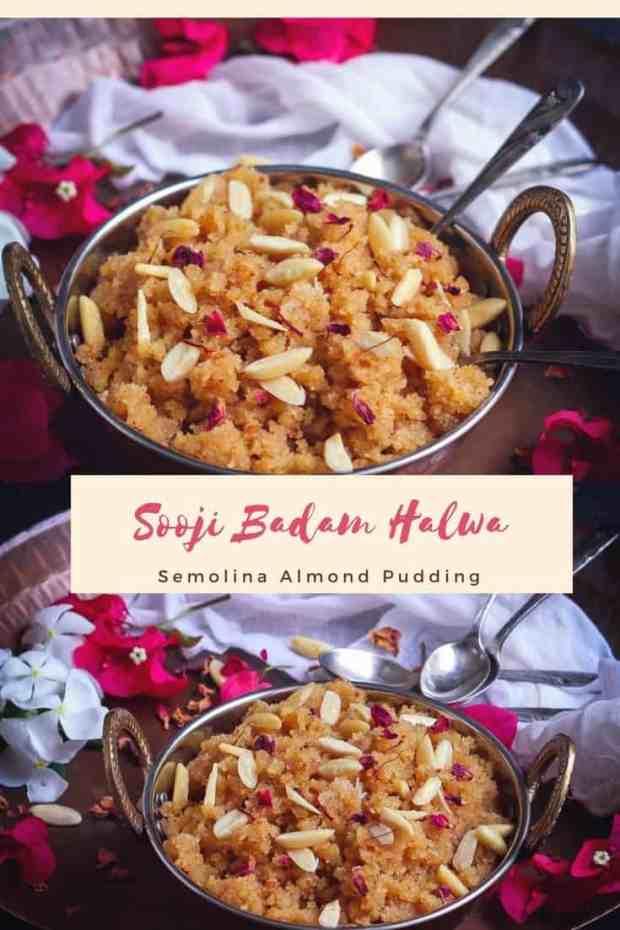 Sooji Badam Halwa Semolina Almond Pudding Indian dessert Festive food