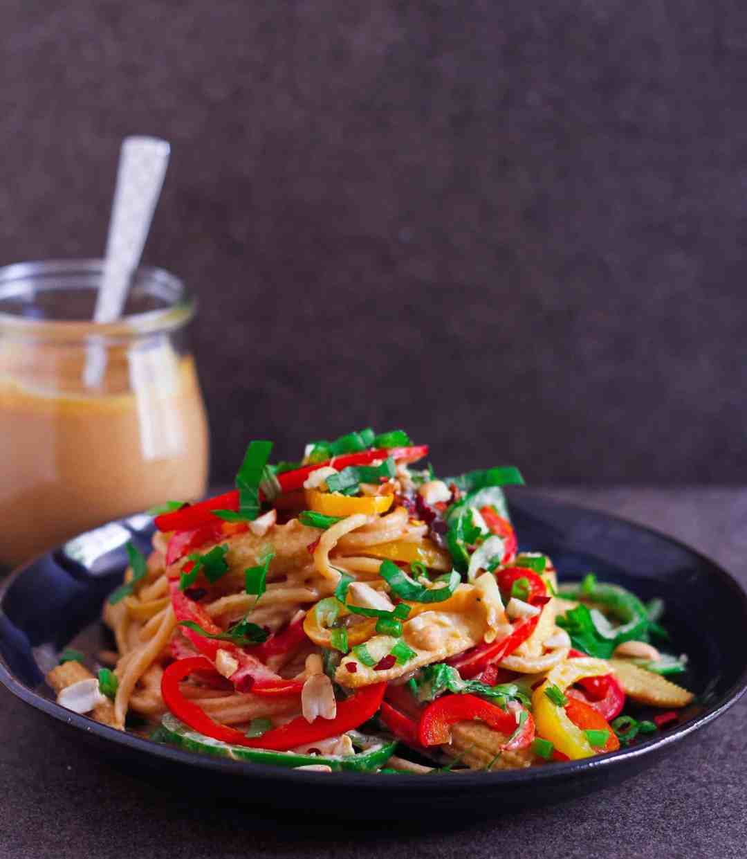 Spicy Thai Peanut Noodles vegan healthy vegetarian Asian food