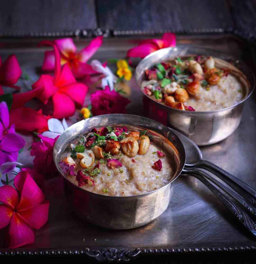 Almond Millet Kheer (Pudding) healthy refined sugarfree glutenfree recipe