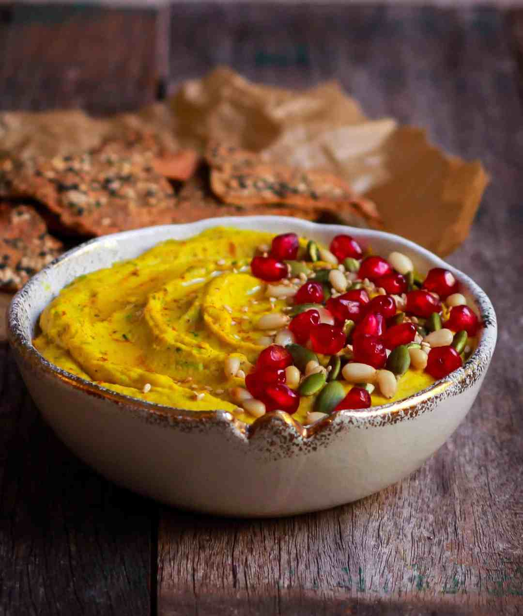 Roasted Carrot Hummus with turmeric healthy creamy vegan recipe