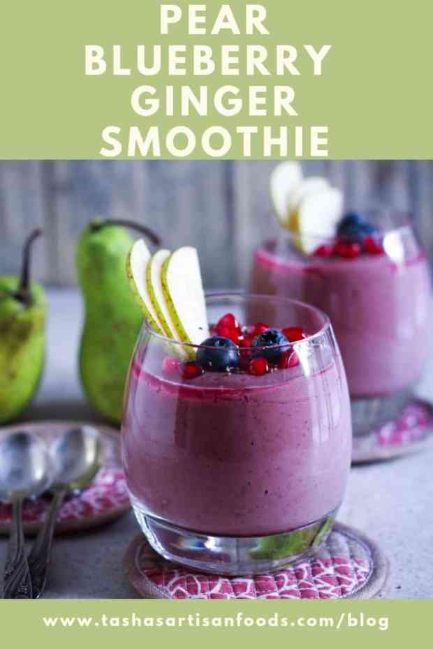 pear blueberry ginger smoothie vegan refined sugarfree healthy breakfast