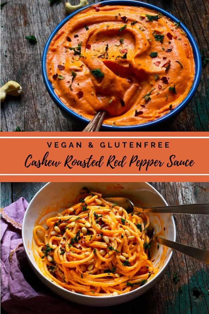 Easy Cashew Roasted Red Pepper Sauce vegan dairyfree healthy