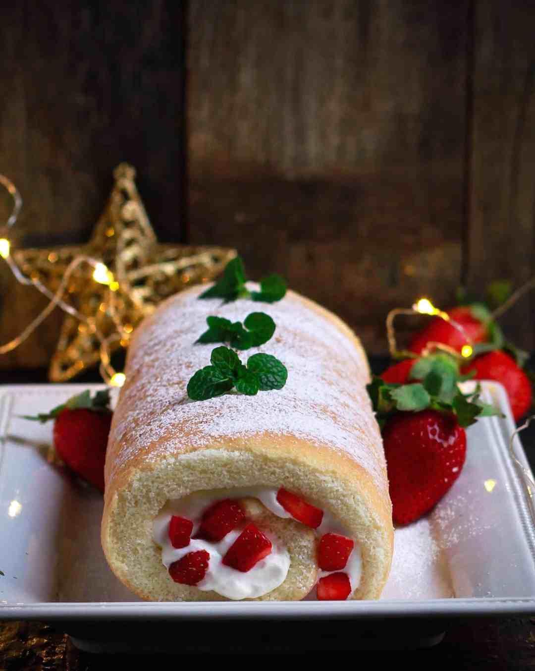 Strawberry & Cream Swiss Roll cake dessert festive season easy baking Christmas