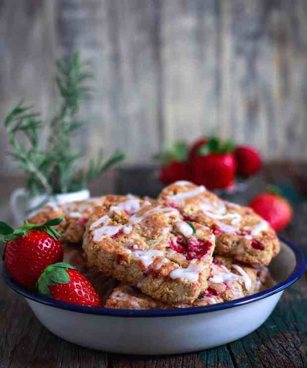 Strawberry & Rosemary Scones glutenfree | eggless| Easy baking with fruits