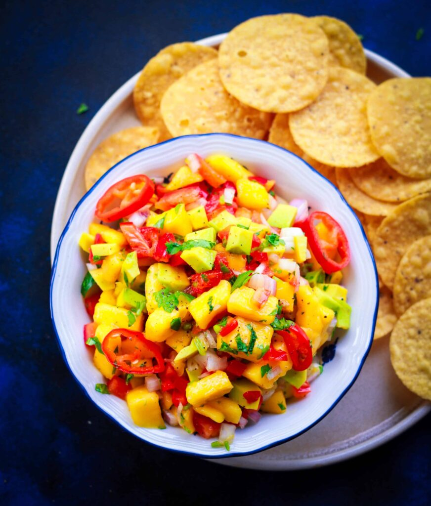 Mango Avocado Salsa vegan glutenfree healthy easy recipe cumin