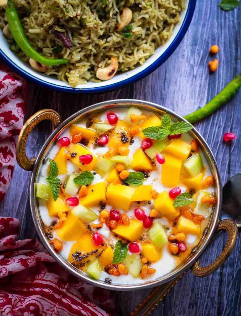 Mango Raita - aam ka raita | summer recipe served with mint pulao