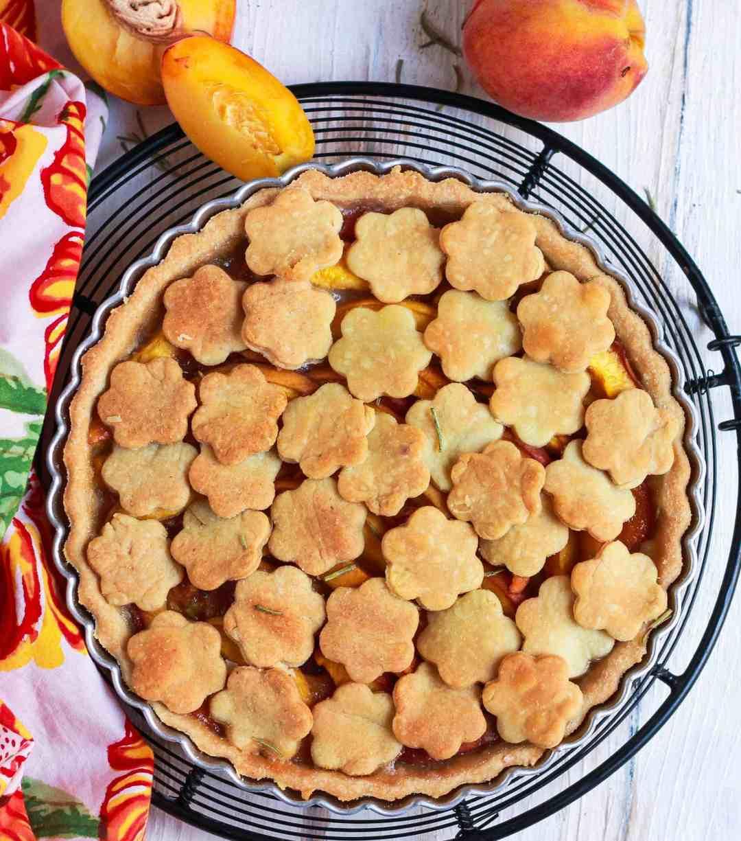 Peach Rosemary Pie vegan dairyfree wholegrain baking summer special