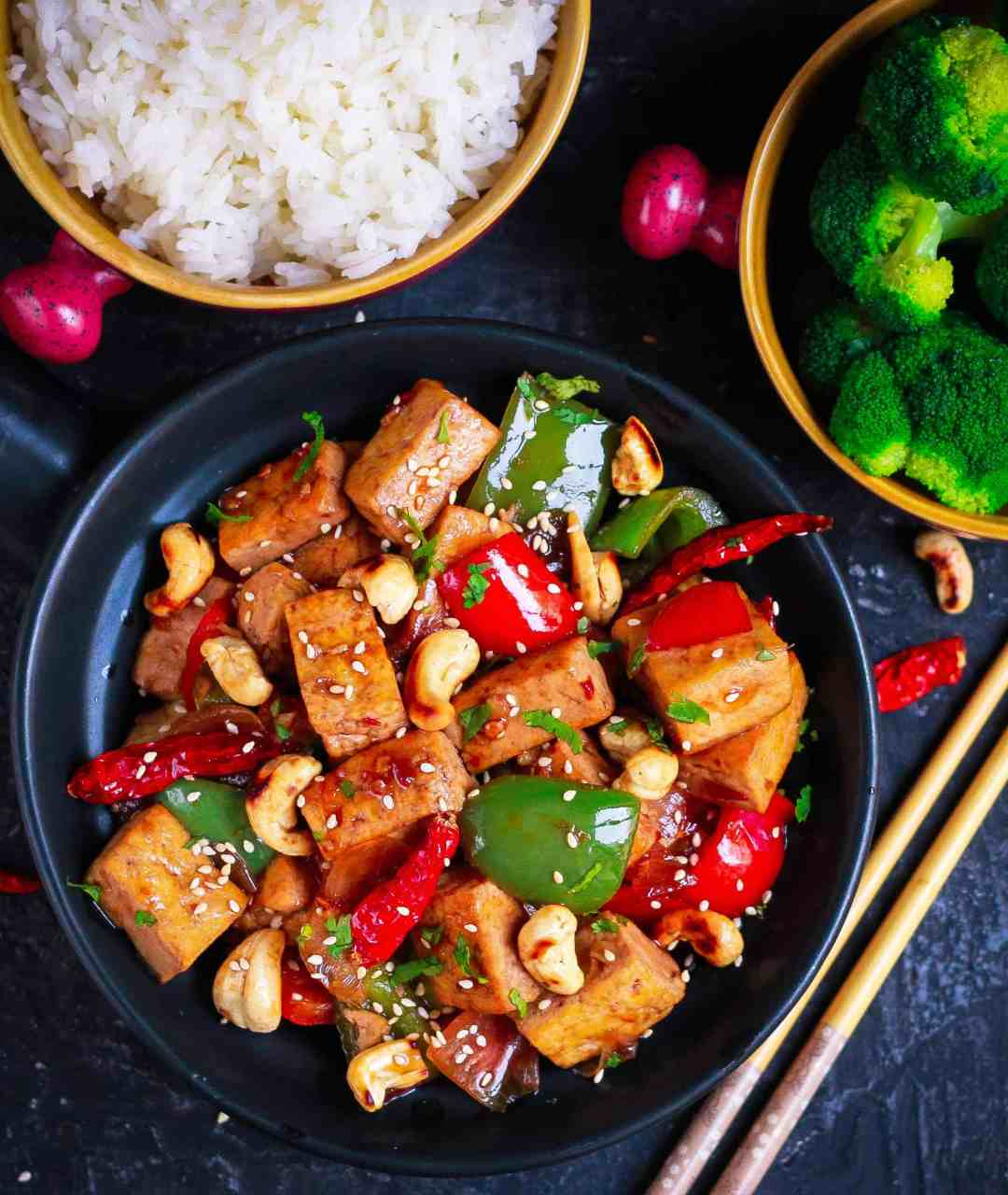 Spicy Tofu Stirfry healthy easy vegan recipe