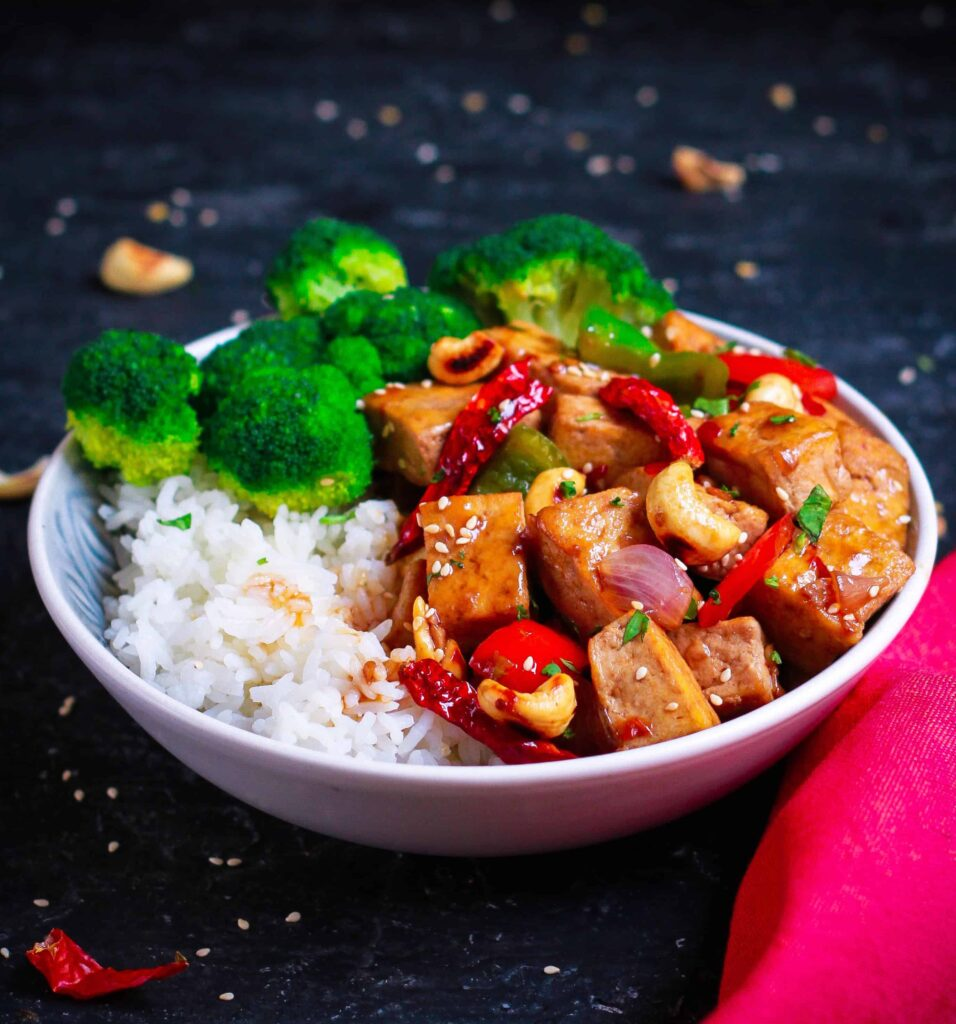Spicy Tofu Stirfry healthy easy vegan recipe