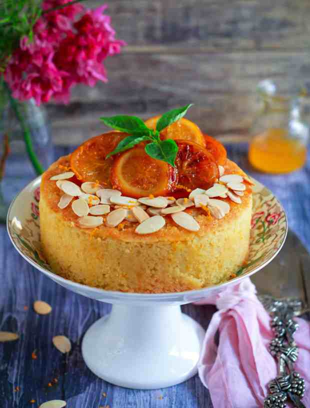 Orange Semolina Almond Cake w/ Orange Honey Syrup | eggless baking