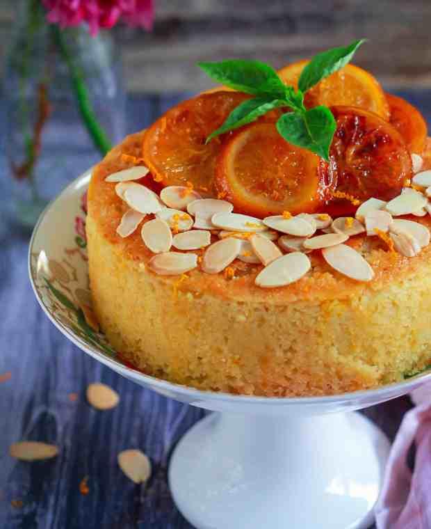 Orange Semolina Almond Cake w/ Orange Honey Syrup | eggless baking