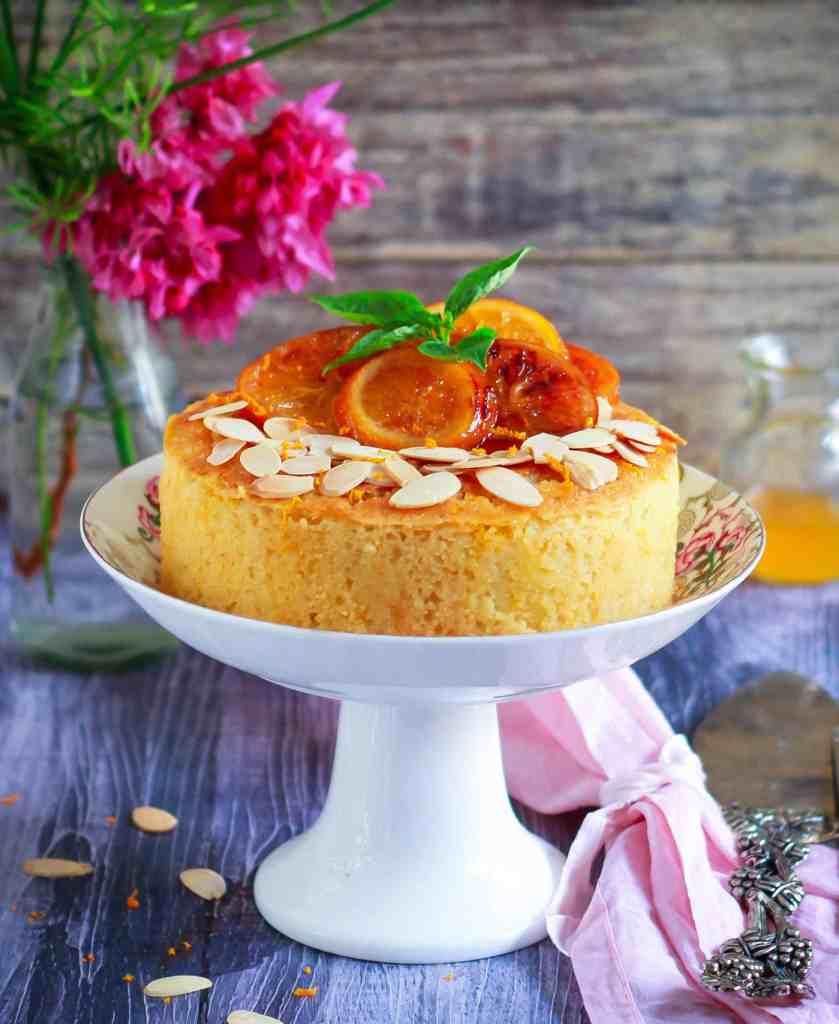 Orange Semolina Almond Cake w/ Orange Honey Syrup   eggless baking
