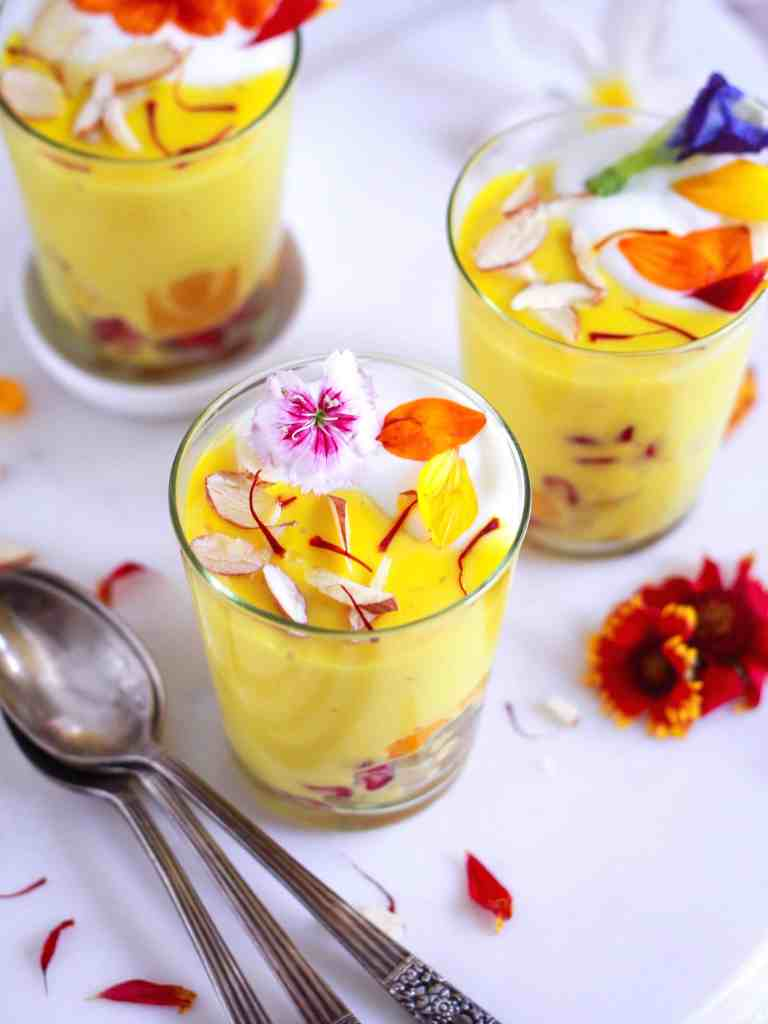 Eggless Saffron Custard easy festive recipe