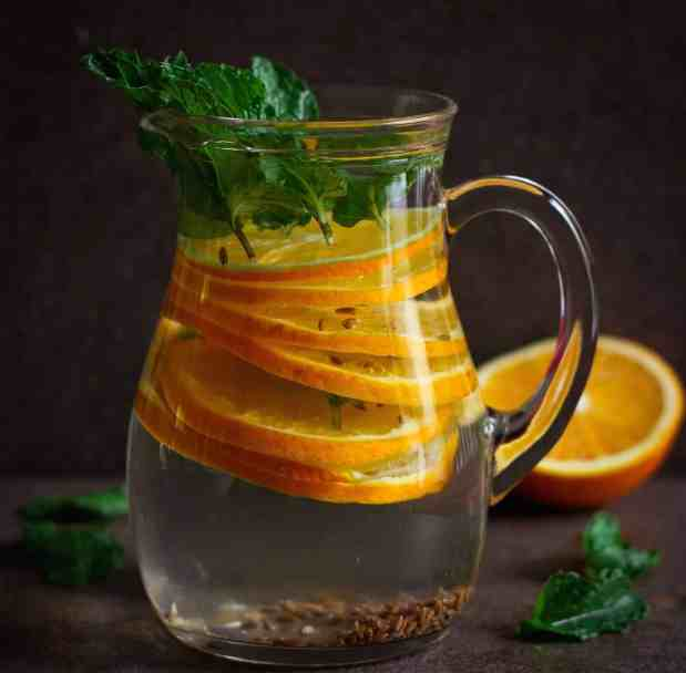 Cumin/ Jeera Infused Water with mint and oranges