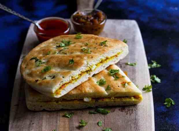 Paneer Kulcha sandwich, vegetarian, paneer
