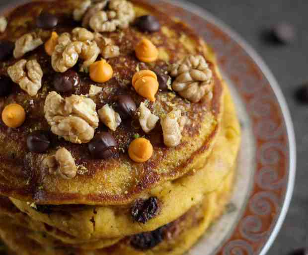 Pumpkin Orange Pancakes, vegan, fall recipe, dairy free, vegetarian, eggless, pancakes, breakfast