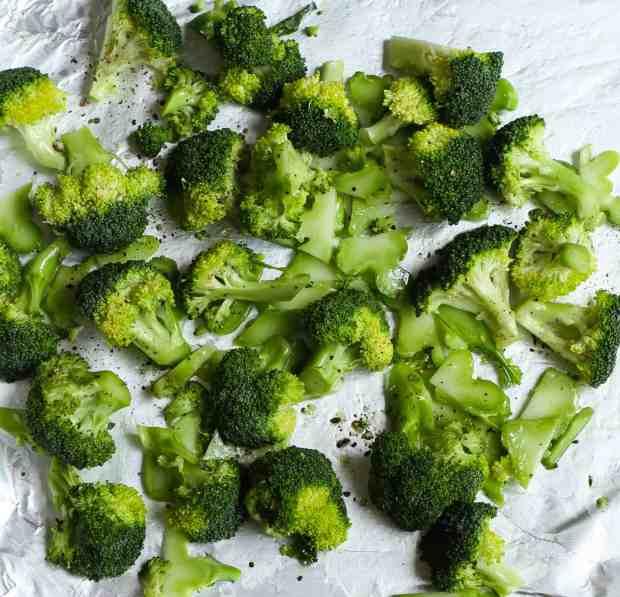 Roasting broccoli florets & stems