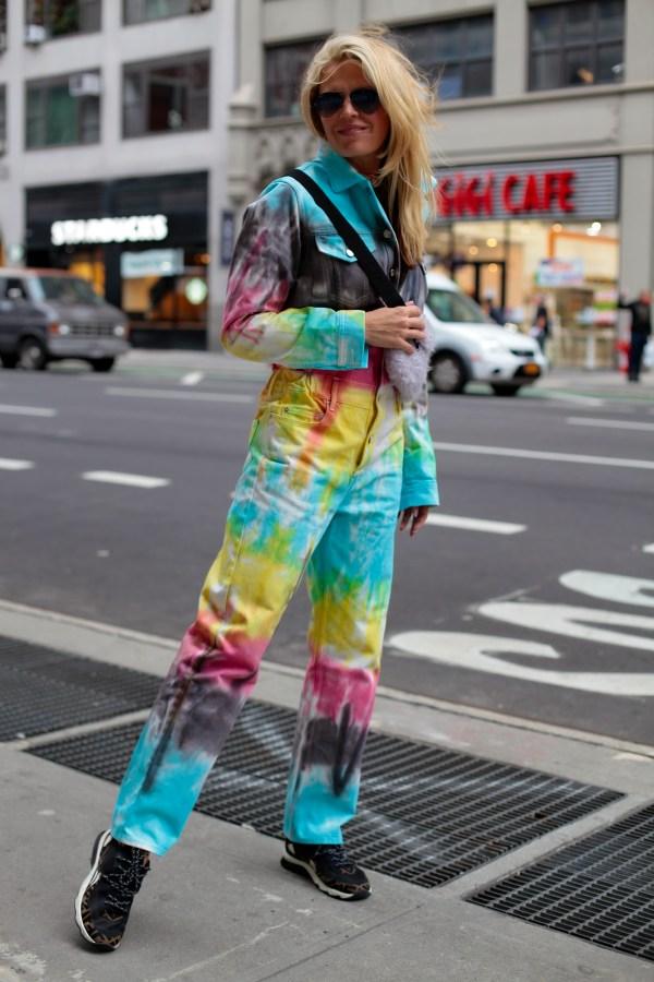 multicolor denim jumpsuit front