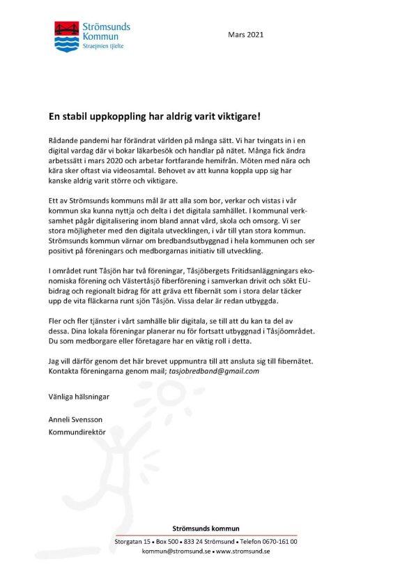 Brevet från kommunen som bild. Brevet går att ladda ner i länken ovan som pdf