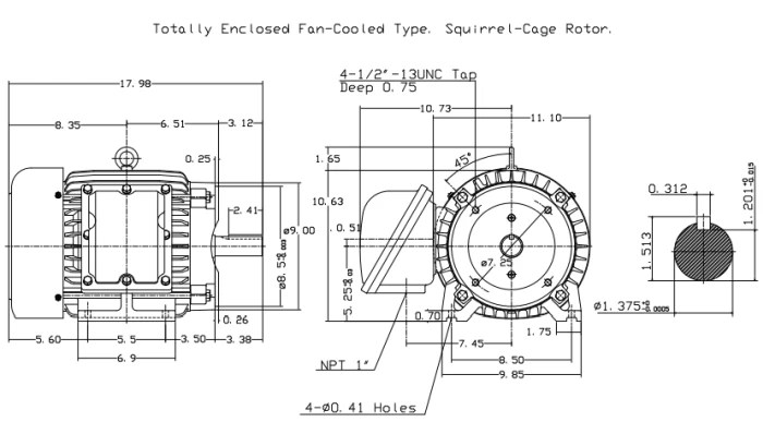 Teco XP7/52C Premium Efficiency Explosion Proof-C-Face