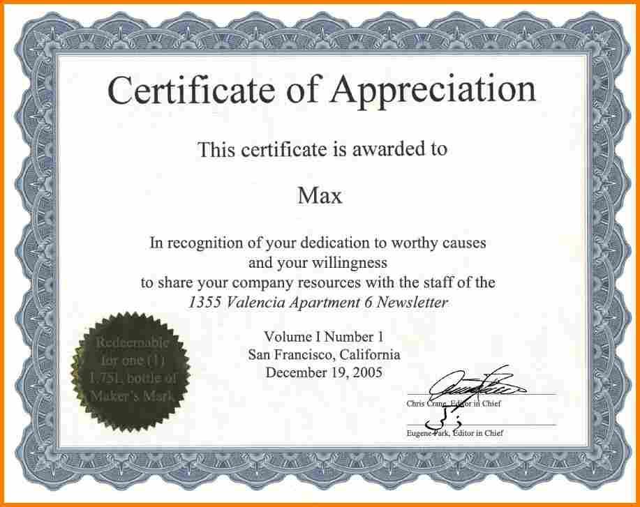 sample appreciation certificate wording