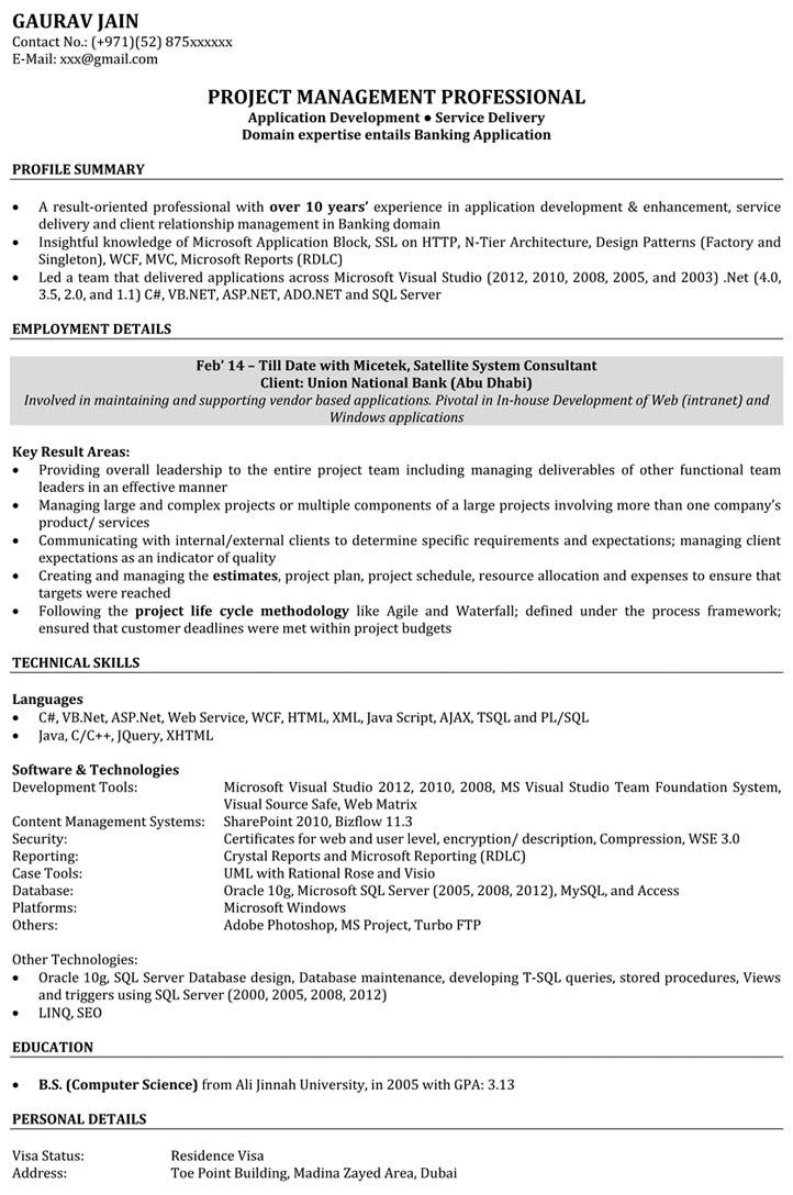 sample resume software developer fresher