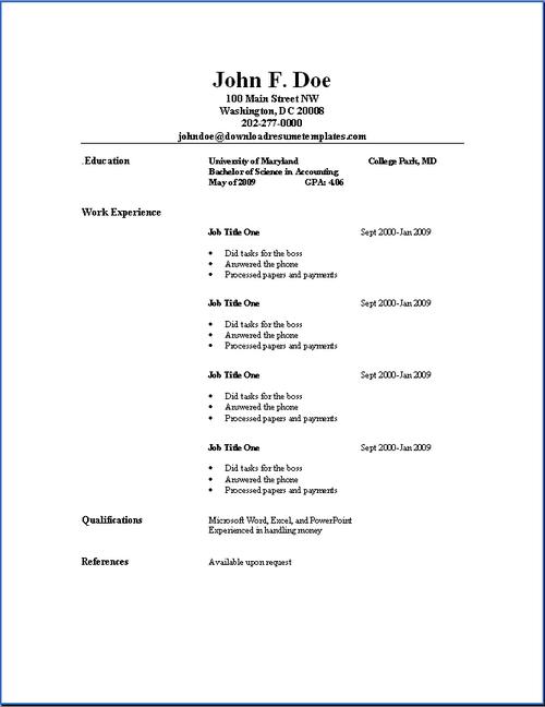 basic resume template exaple