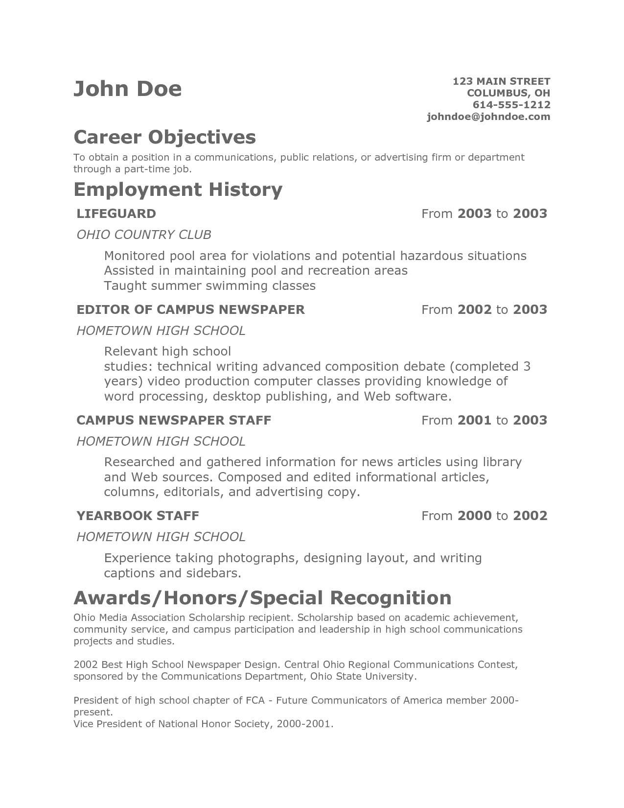 sample of teen summary for resume