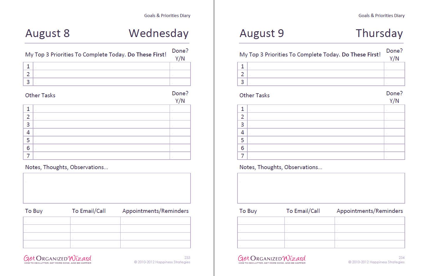 To Do List Diary Task List Templates