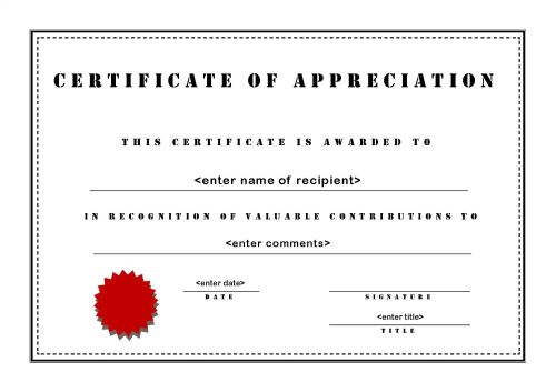 Certificate Of Appreciation Template Free Download