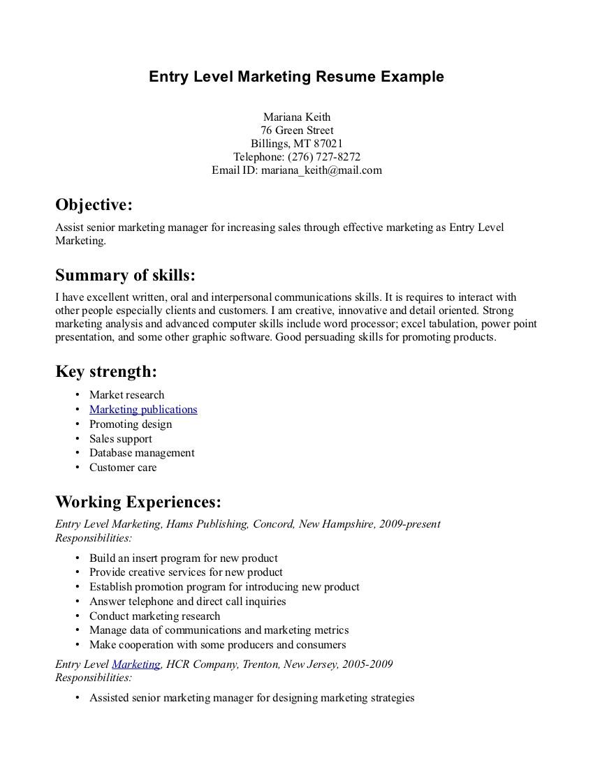 resume examples for marketing internships