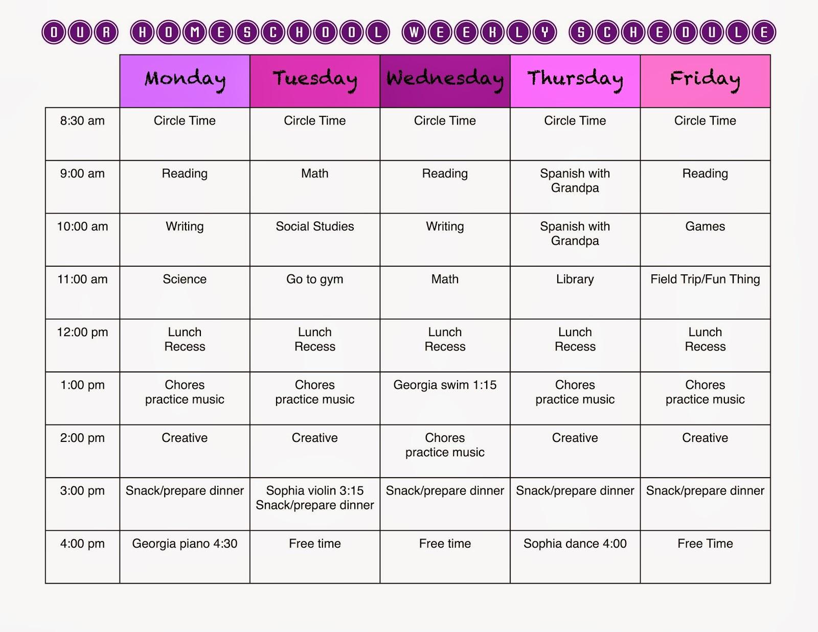 Homeschool Schedule Template Task List Templates