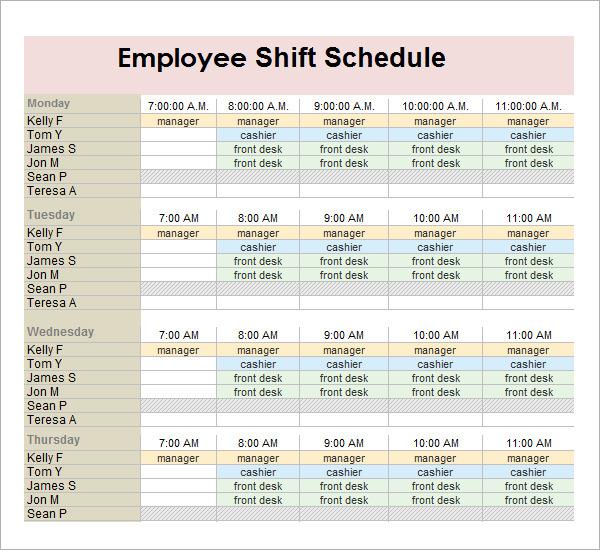 work shift schedule template