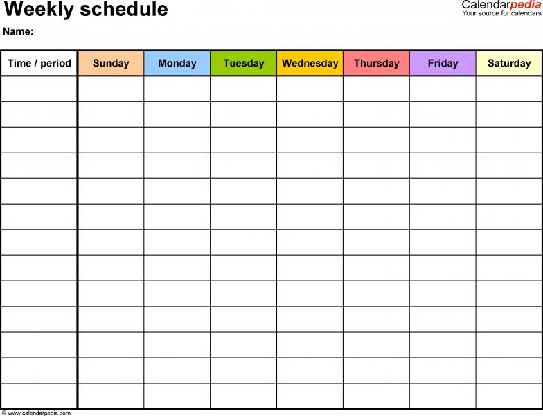 class schedule template google docs
