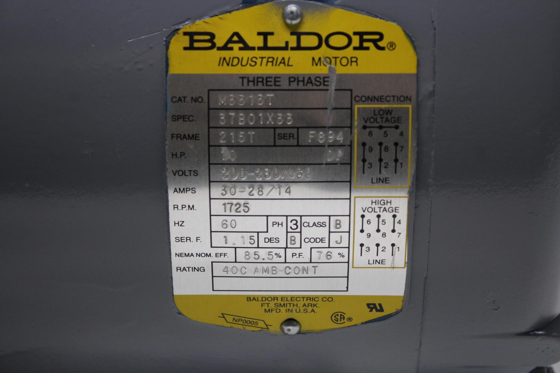 Baldor Motor M3313t  3ph  10 Hp  215t Frame  1725 Rpm  Volts 208 460