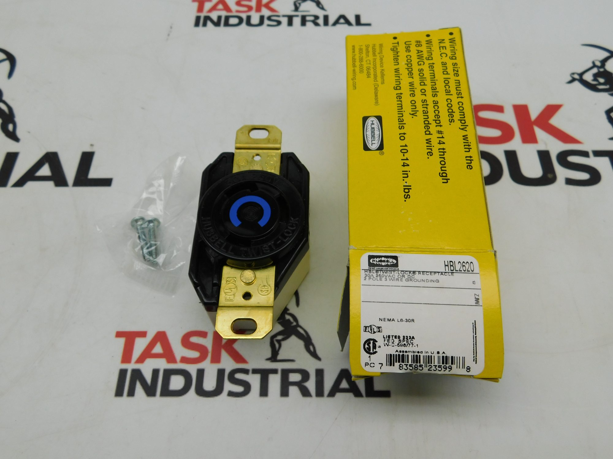 hight resolution of case of 10 hubbell hbl2620 2p 3 wire 30a 250 vac vdc receptacle twist lock