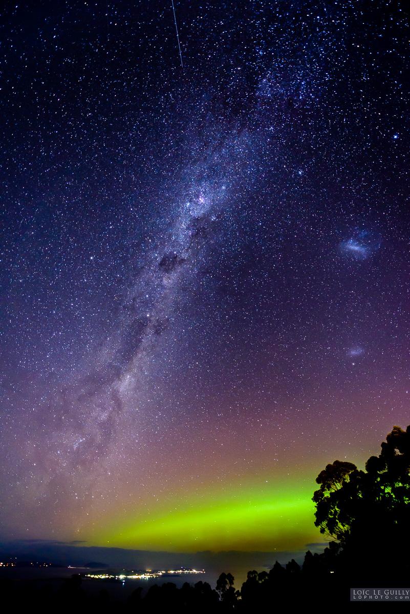 Aurora Australis and Milky Way over Hobart  Tasmania 360