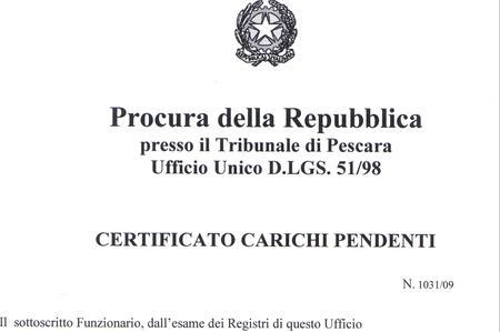 Certificato Casellario Giudiziale E Assenza Carichi Pendenti