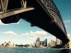 Sydney Harbour Bridge and Opera house on a sunny day.