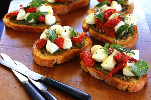 Pesto, semi-dried tomato & bocconcini bruschetta