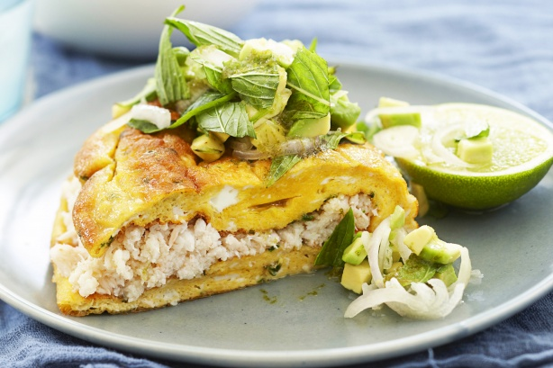 Crab omelette with avocado salsa