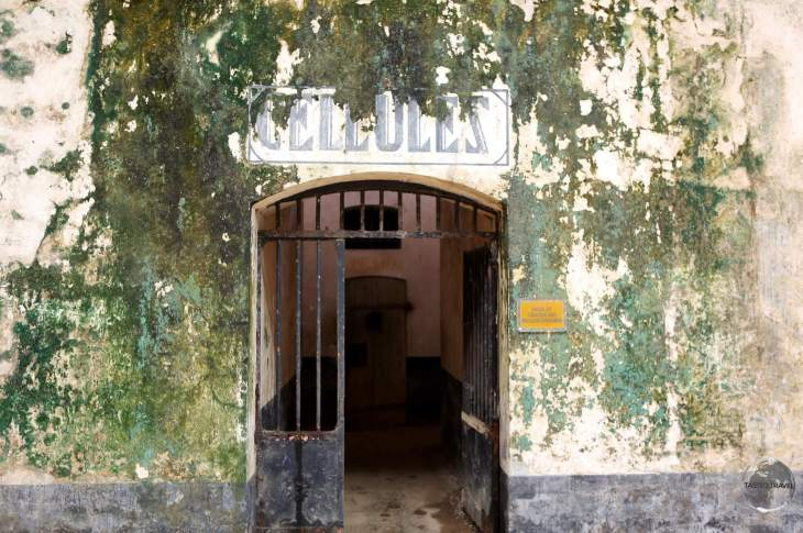 Entrance to prison cells at a former French penal colony on Îles du Salut, French Guiana.