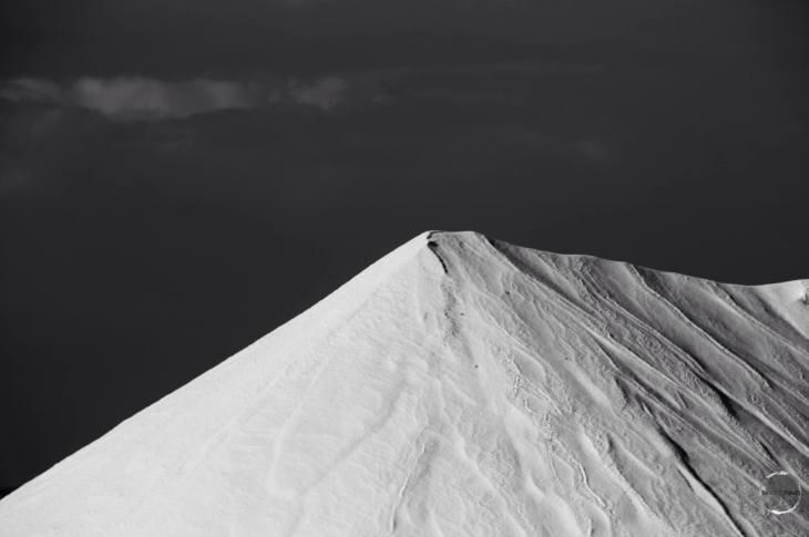 The salt heaps at the Cargill Salt Mine look like snow covered mountains.