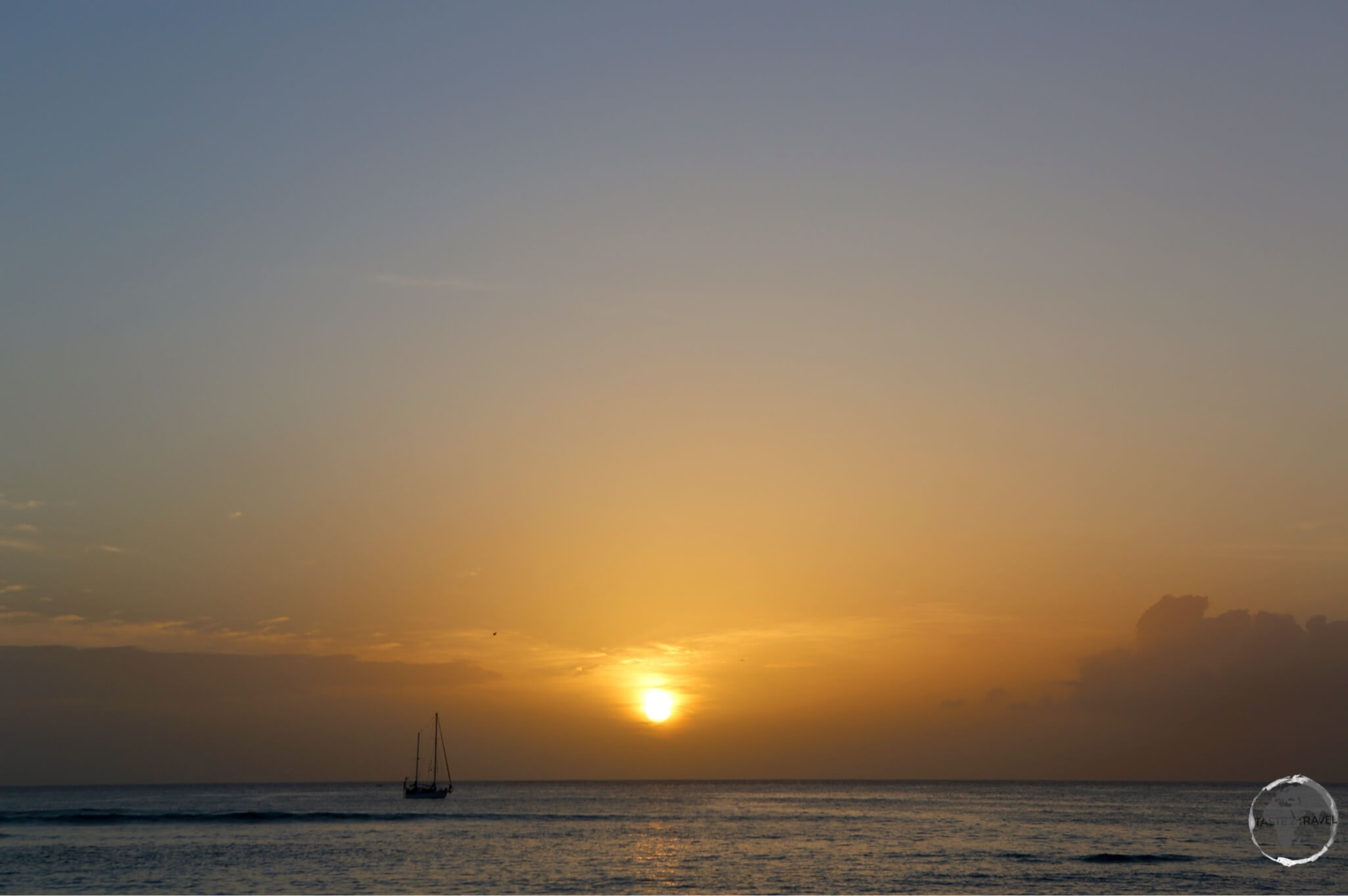 Sunset from Pigeon Point beach, Tobago.
