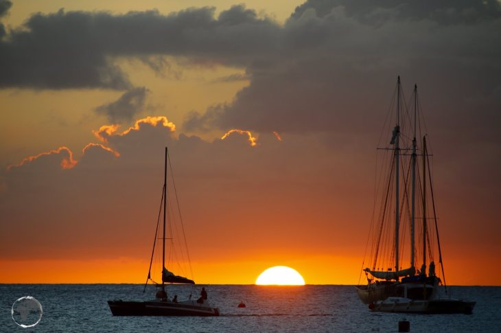 Sunset on the west coast of Barbados.