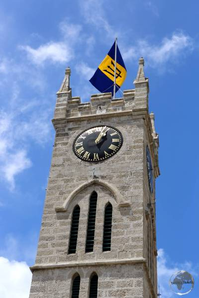 The coral-limestone clock tower of the Parliament Building, Bridgetown, Barbados.