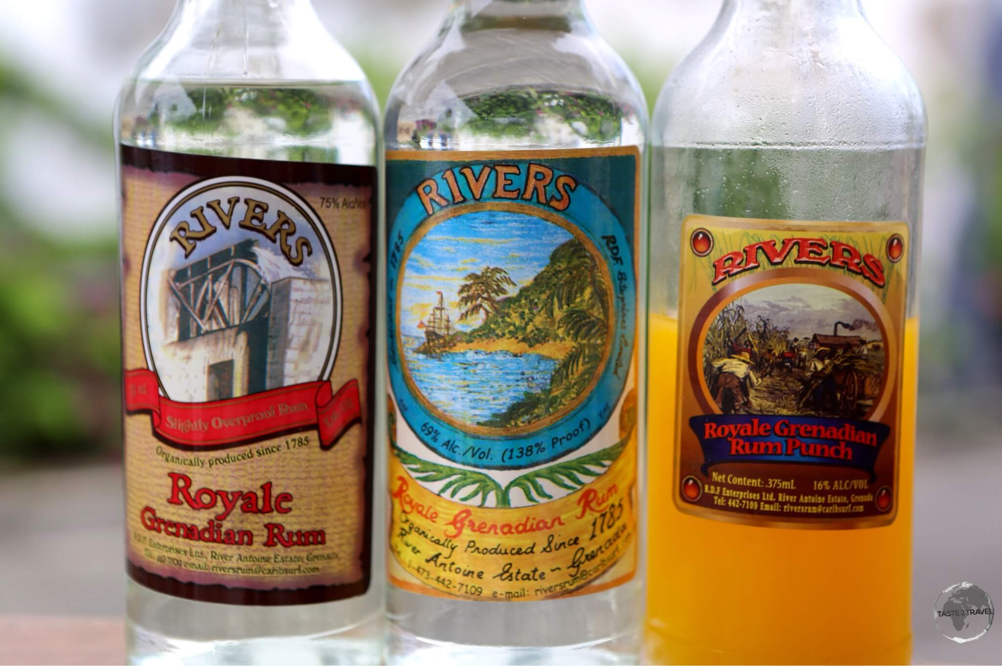 Products from the River Antoine rum distillery.