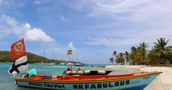 Boats at Tobago Cay.