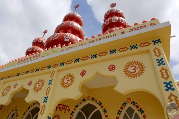 The colourful Arya Dewaker Hindu temple, Meerzorg, Paramaribo.