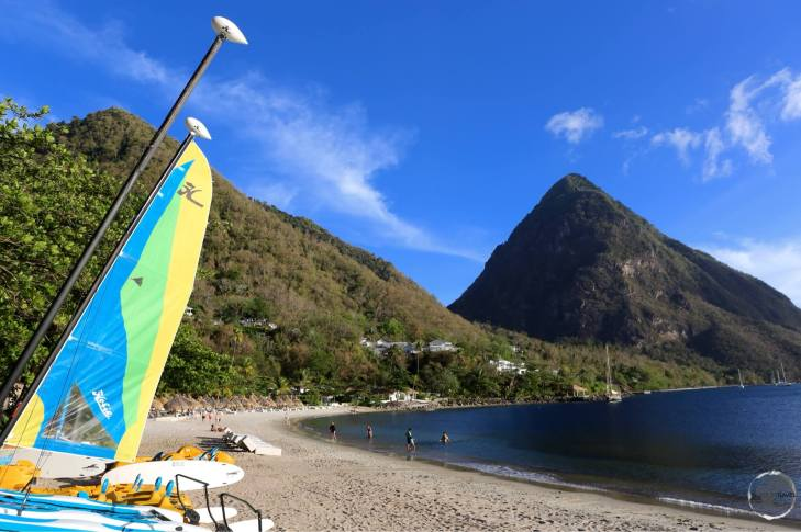 Pictureque Sugar Beach is situated between the Pitons